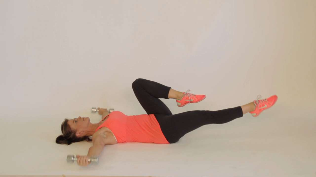 Bicycle abs with dumbbell pec fly