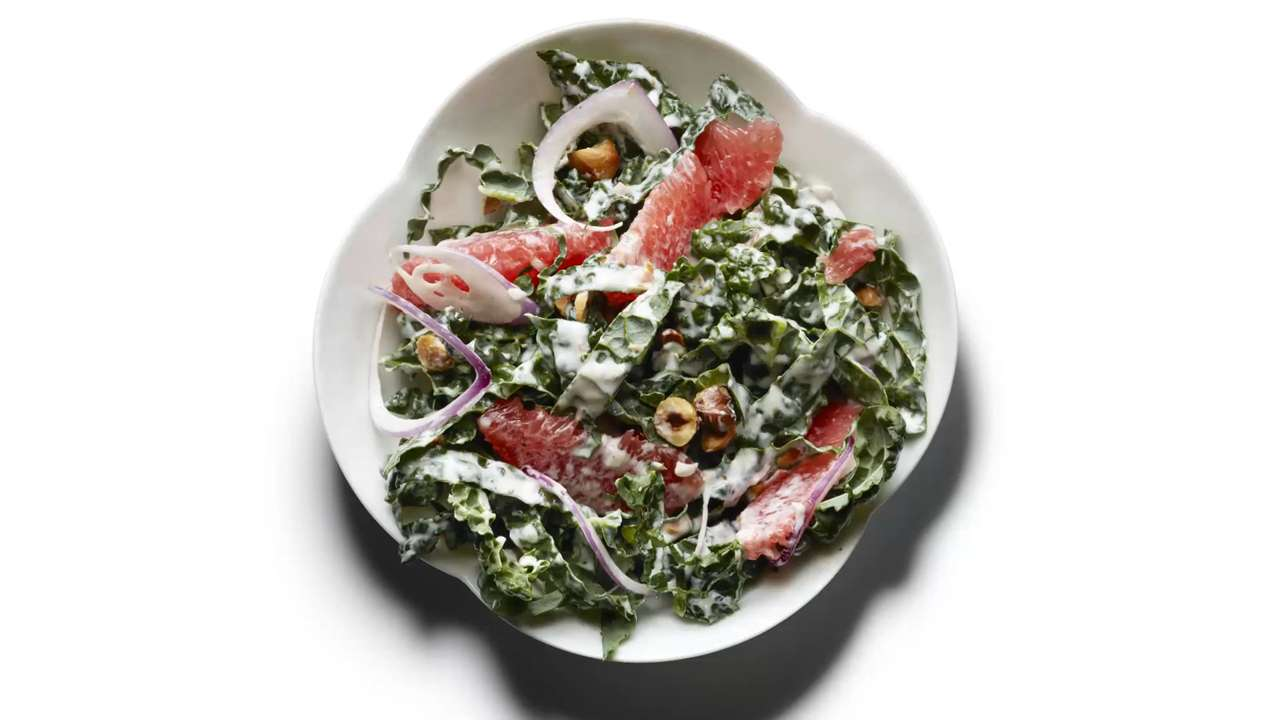 Raw Kale, Grapefruit and Hazelnut Salad