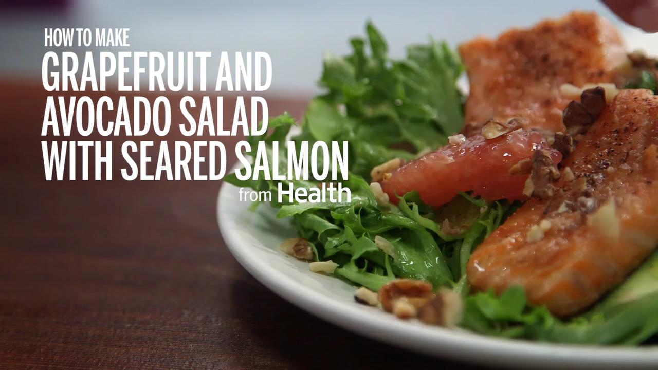 How to Make Grapefruit & Avocado Salad With Seared Salmon