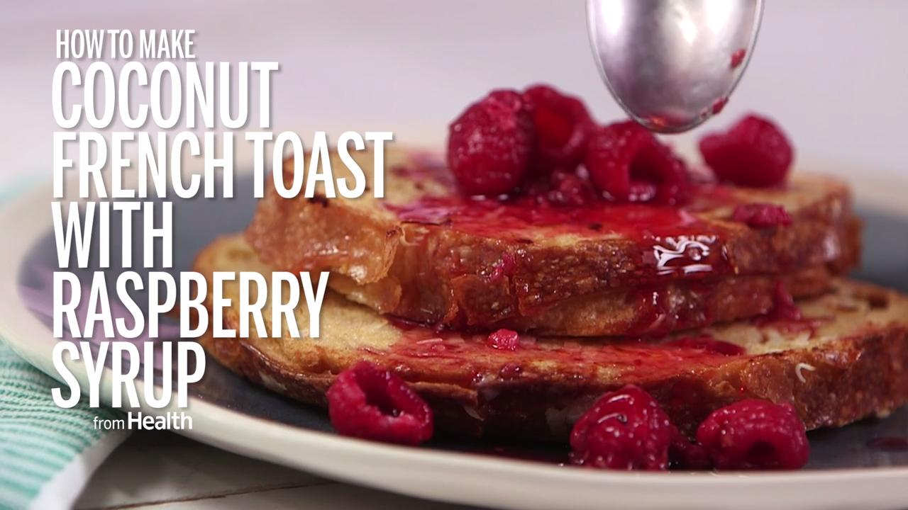Coconut French Toast with Raspberry Syrup