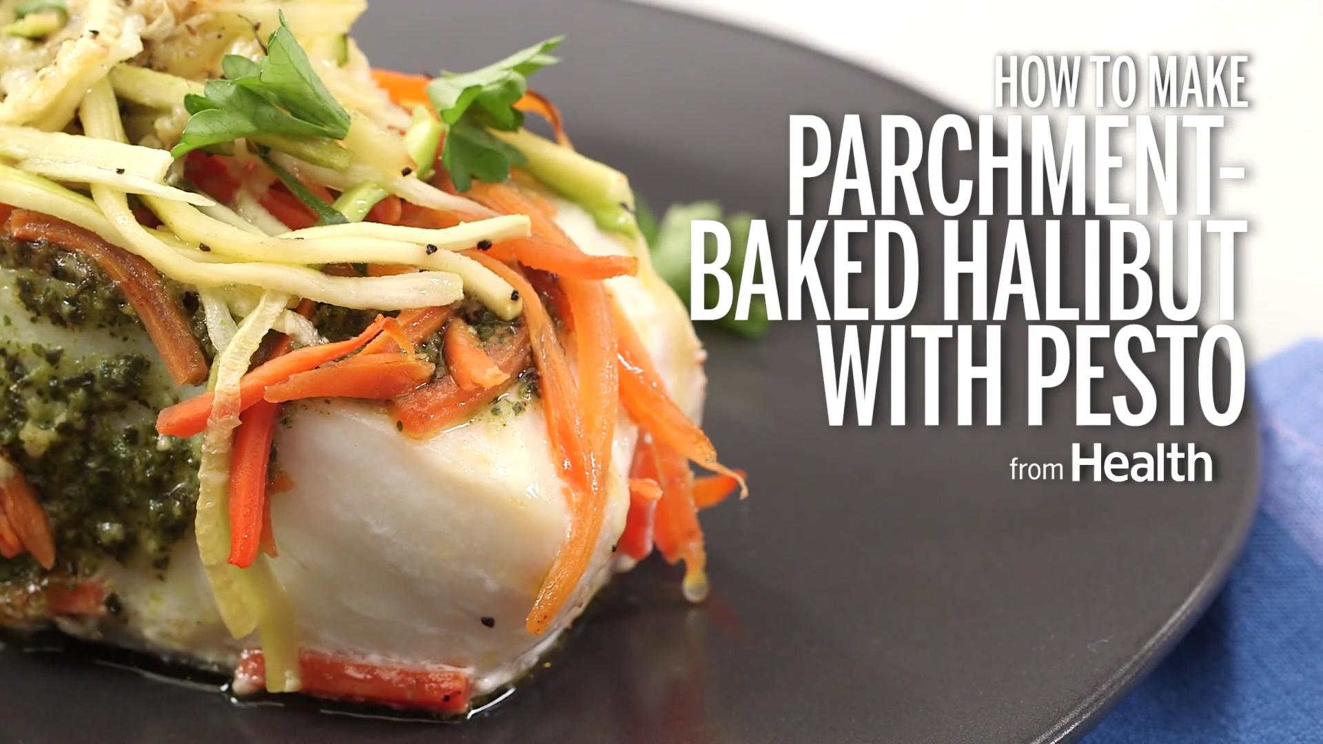 Parchment-Baked Halibut With Pesto, Zucchini, and Carrots