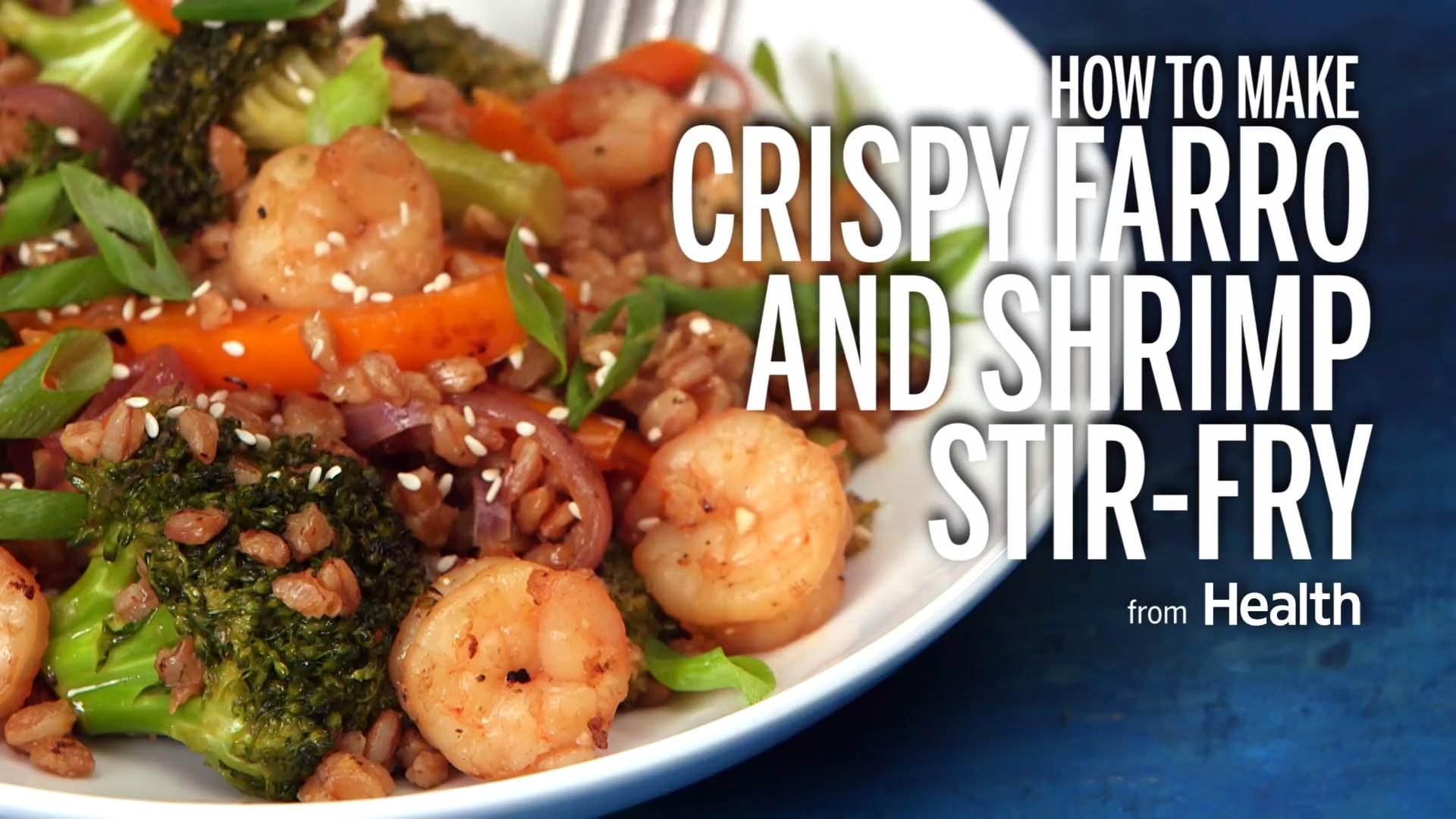 Crispy farro and shrimp stir-fry