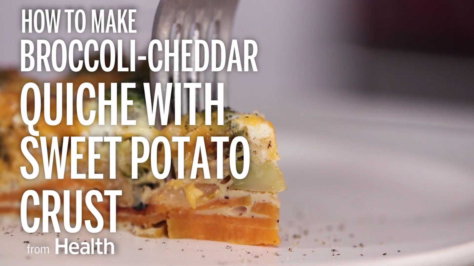 Broccoli-Cheddar Quiche With Sweet Potato Crust
