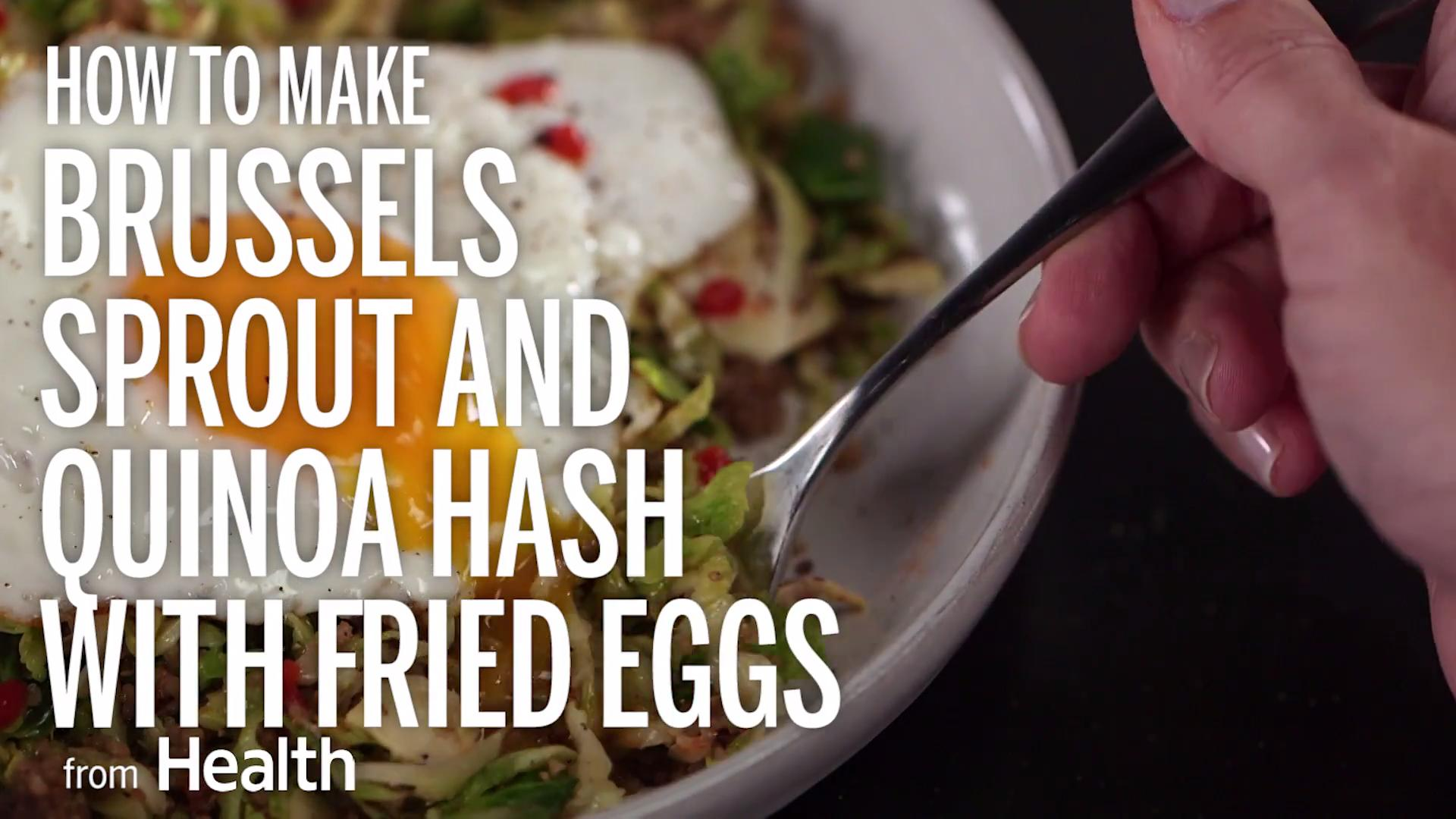 Brussels Sprout and Quinoa Hash With Fried Eggs