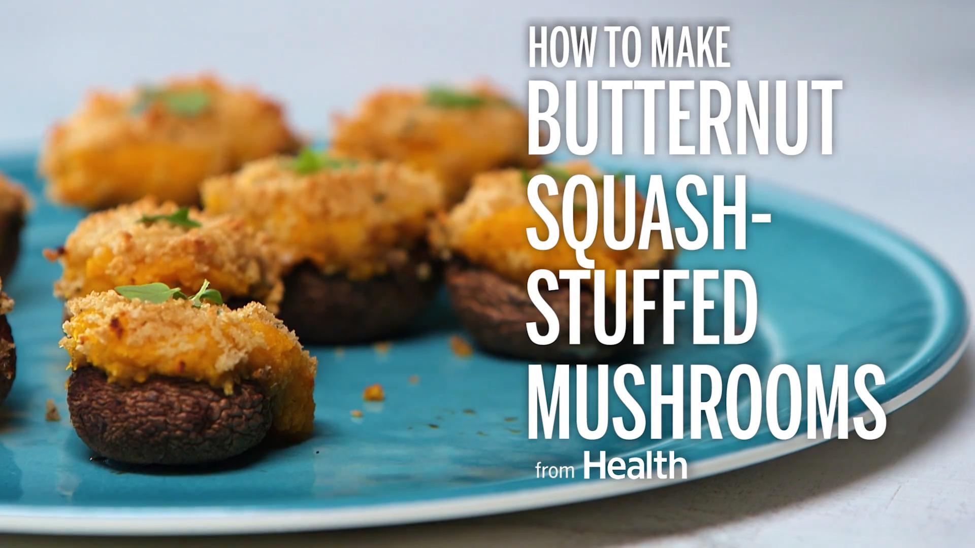 Creamy Butternut Squash-Stuffed Mushrooms