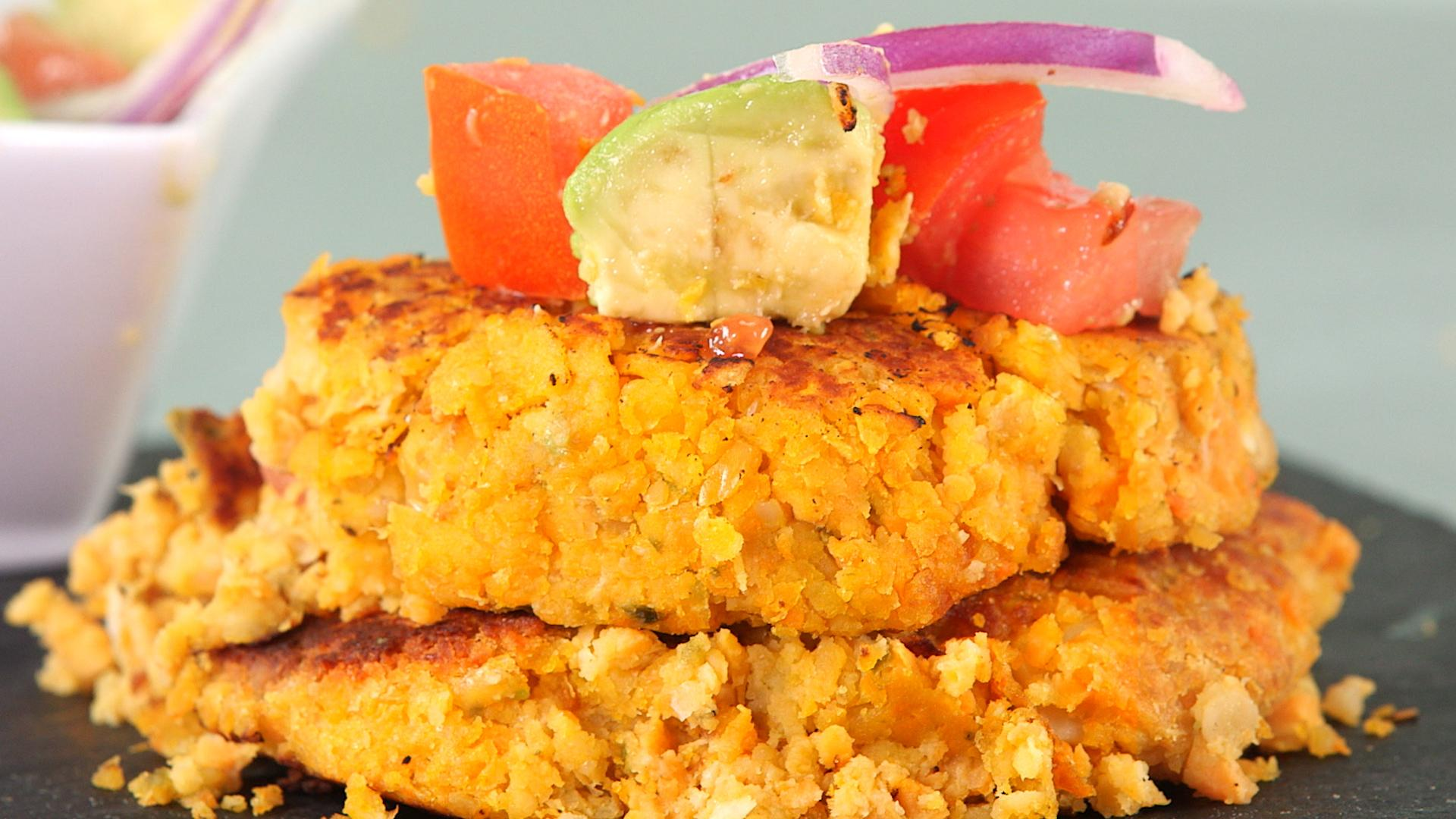 How to Make Sweet Potato and Chickpea Cakes with Avocado Salsa -