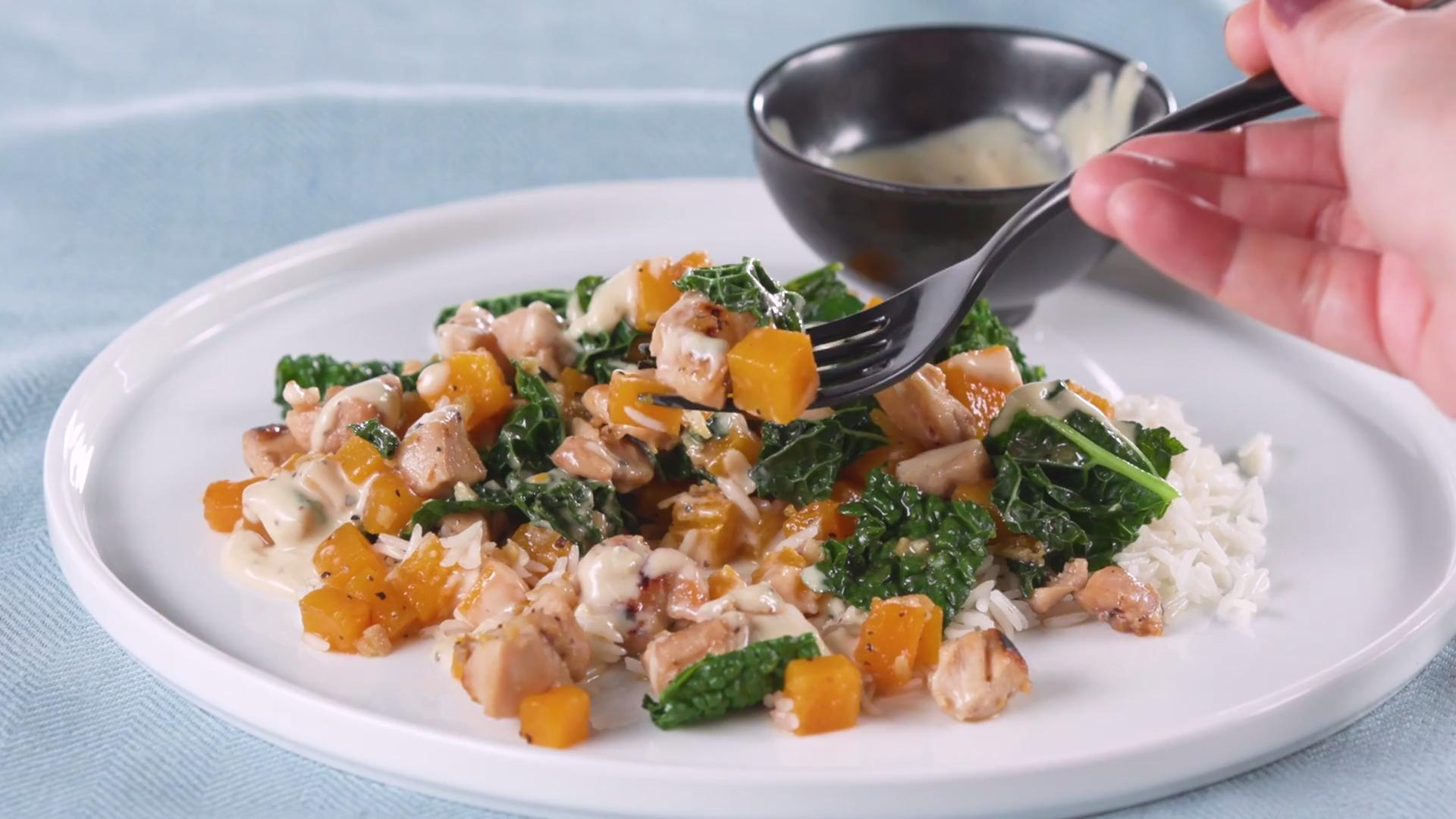 How to Make Tahini Dressed Chicken With Squash and Kale