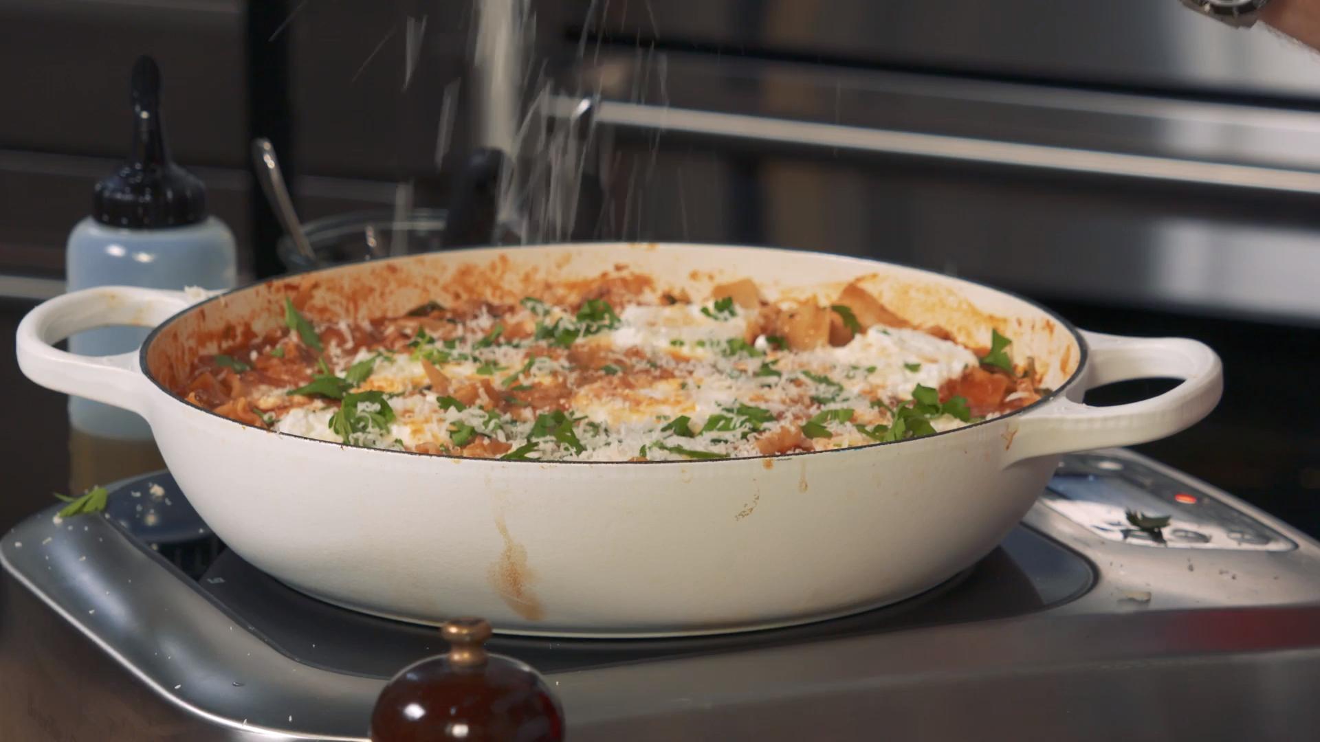 Harissa-Lamb Skillet Lasagna