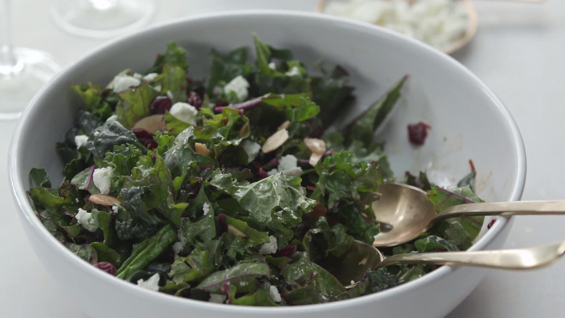 Kale Salad with Cranberries, Almonds and Goat Cheese