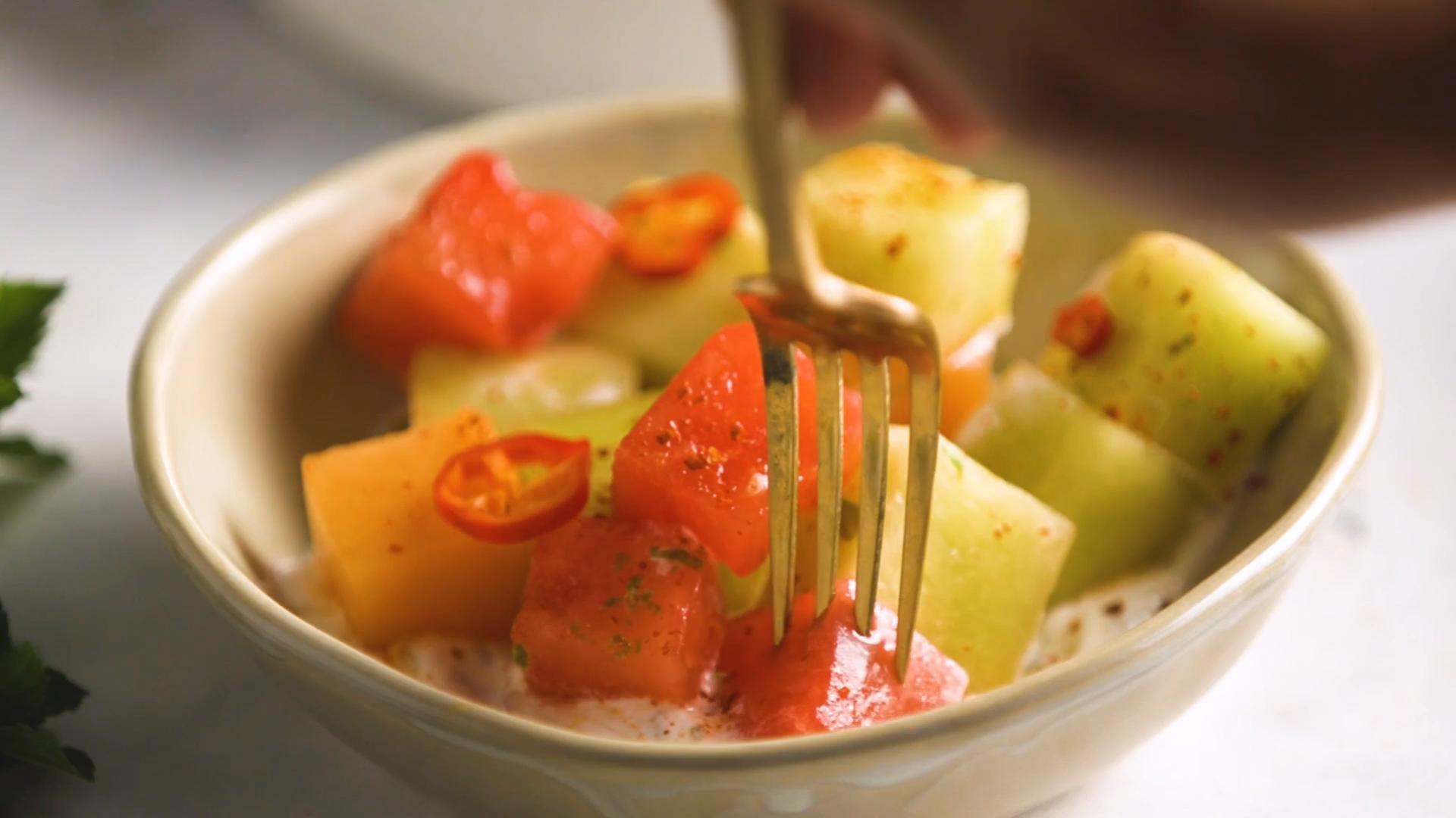 Golden Melon Salad with Lemony Yogurt and Chiles