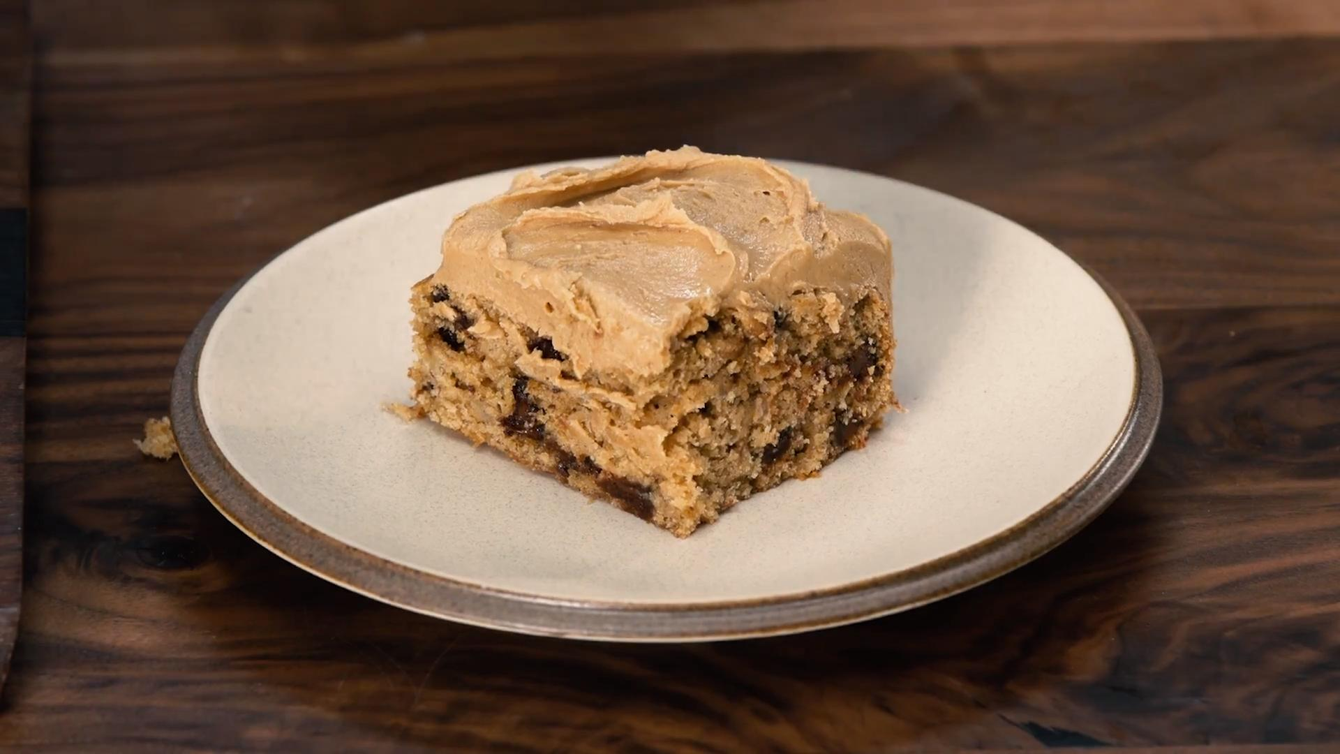 Banana–Chocolate Chip Snack Cake with Salted Peanut Butter Frosting