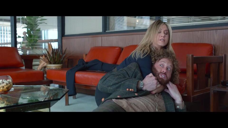 Office Christmas Party: Jennifer Aniston wrestles T.J. Miller in ...