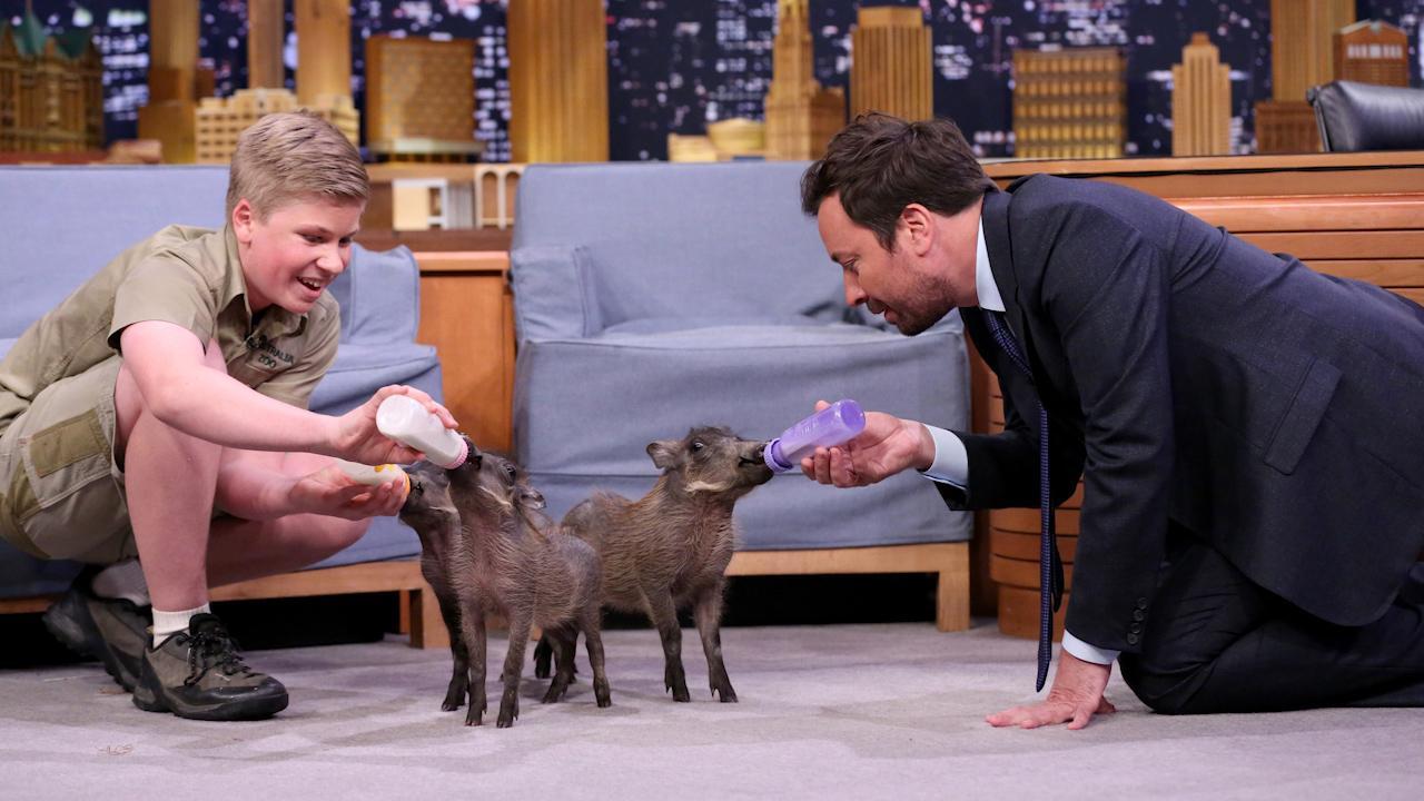 Watch Steve Irwin's son Robert turn The Tonight Show into a petting zoo