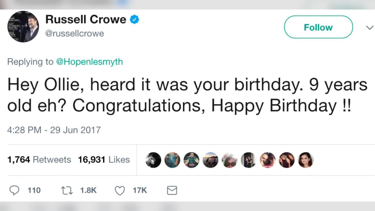 Russell Crowe And Other Celebrities Tweet Bullied Boy Ollie Time