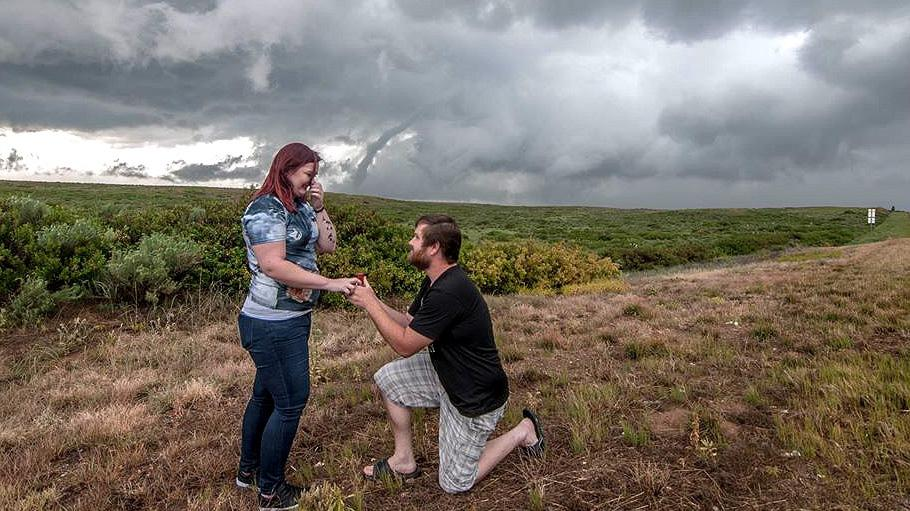 Texas Man Proposes to Girlfriend in Front of Tornado