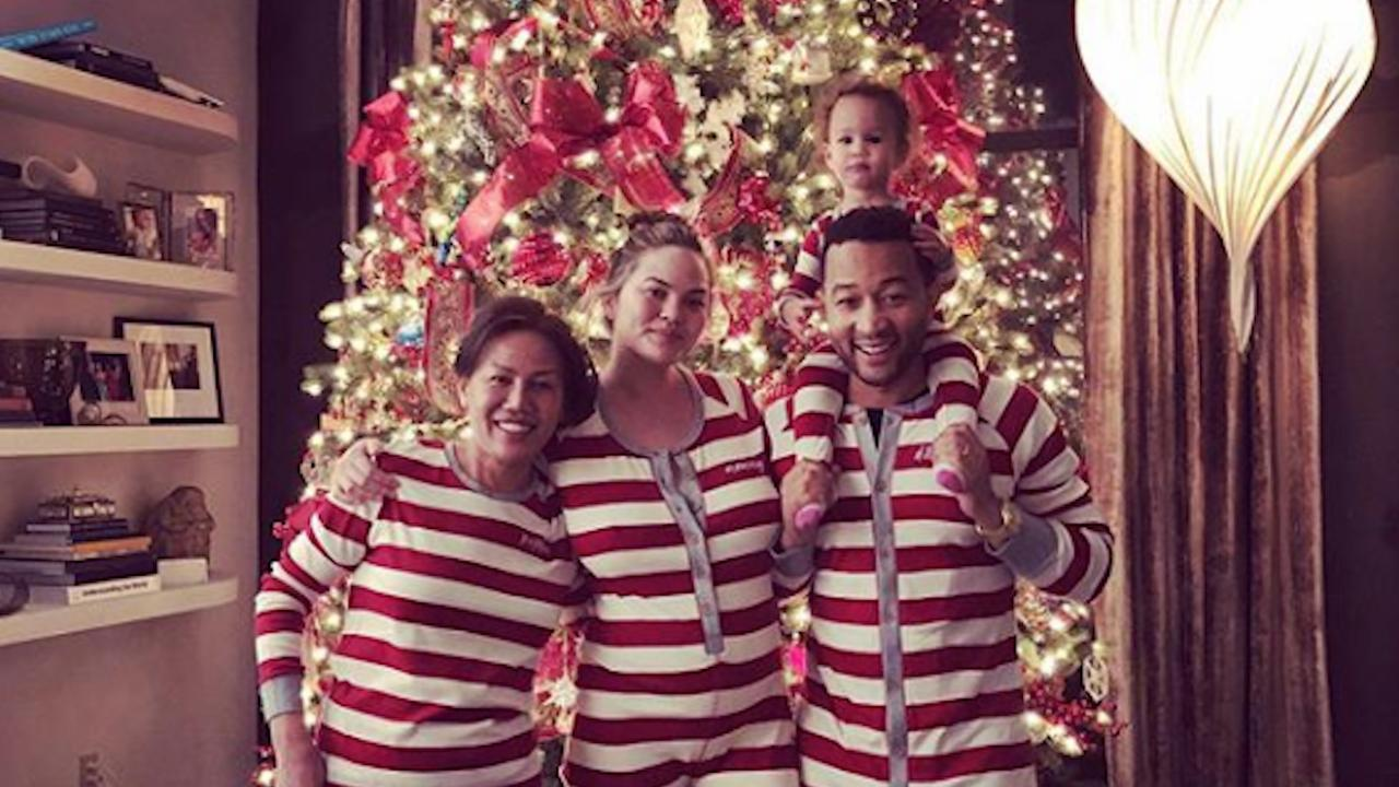 Chrissy Teigen Shows Off Baby Bump in Post-Christmas Family Photo ...