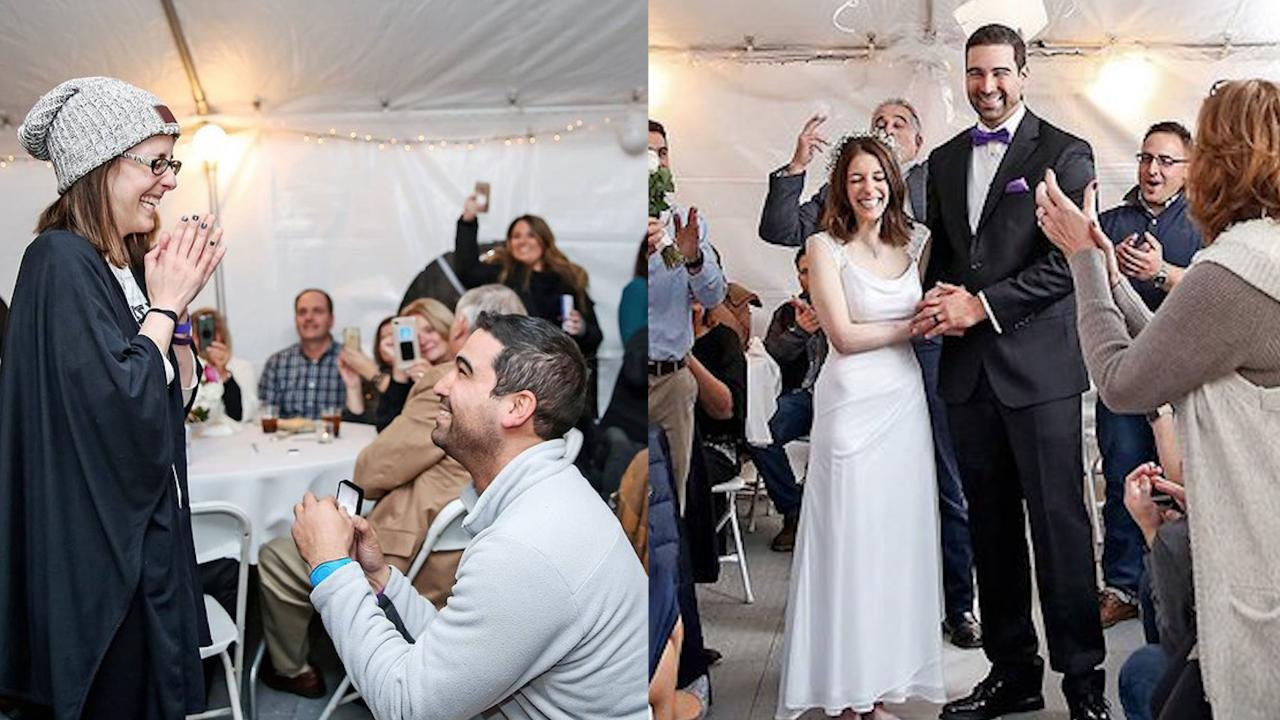 Man Surprises Sweetheart With Wedding Minutes After Becoming Engaged