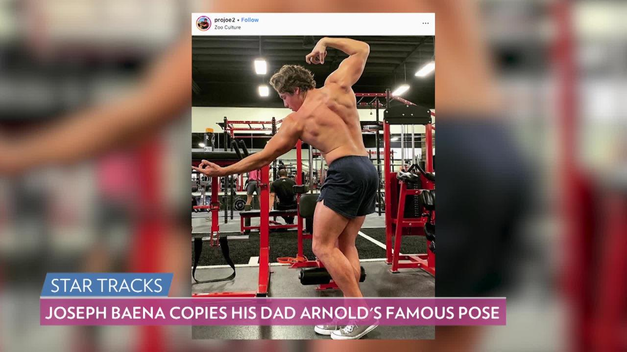 Arnold Schwarzenegger S Son Joseph Baena Shows Off His Muscles Recreates His Dad S Classic Pose