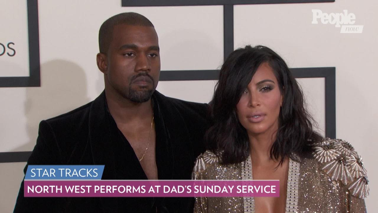 5b43cdfc4 A Showstopper! North West Adorably Takes the Mic at Dad Kanye West's Sunday  Service