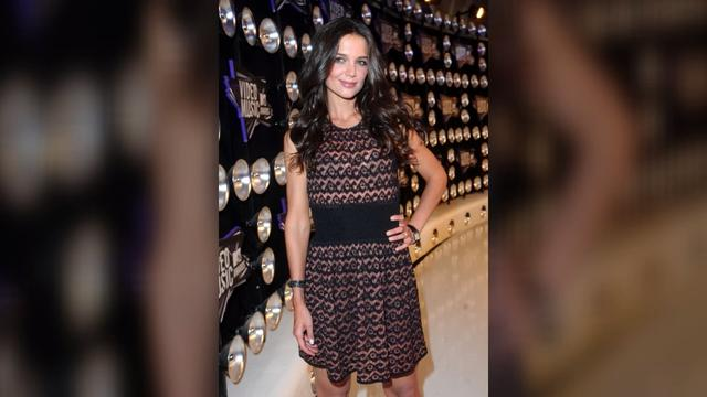 Katie Holmes Forgot Her Top Underneath a Pair of Denim Overalls
