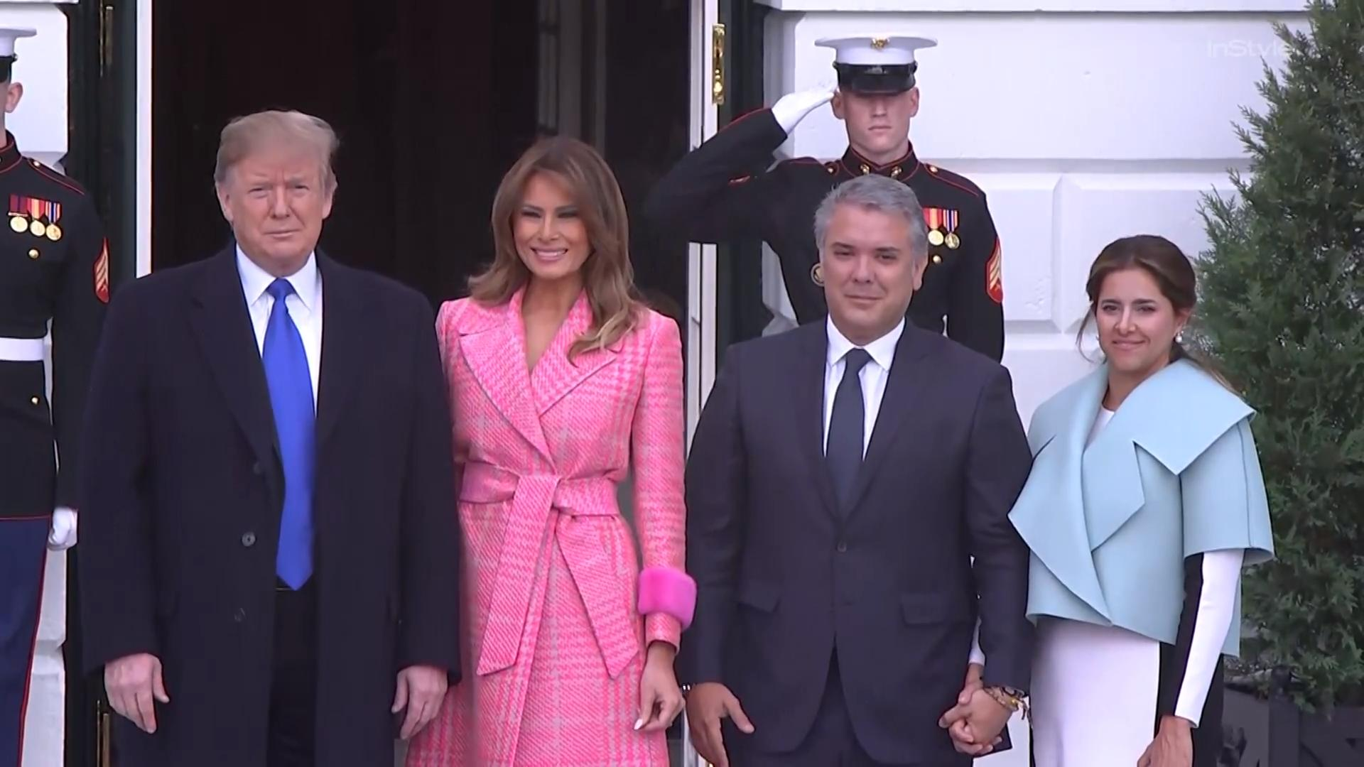 Melania Trump Either Wore a Very Expensive Pink Coat or a Bathrobe