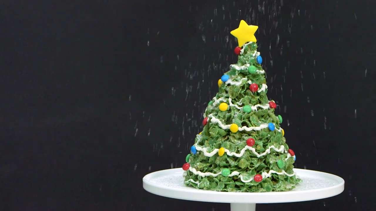 Giant Marshmallow & Cornflakes Christmas Tree Treat Recipe | MyRecipes