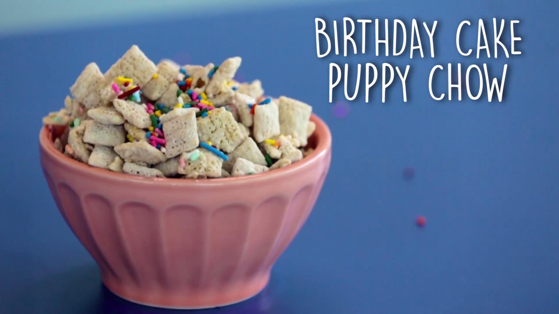 Terrific Birthday Cake Puppy Chow Recipe Myrecipes Personalised Birthday Cards Rectzonderlifede