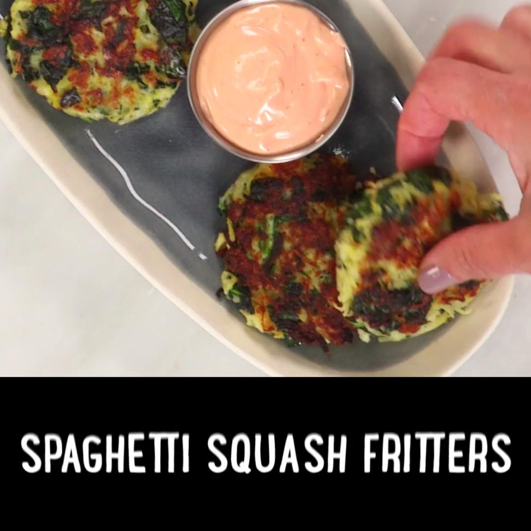 Spaghetti Squash Fritters with Sriracha Mayonnaise