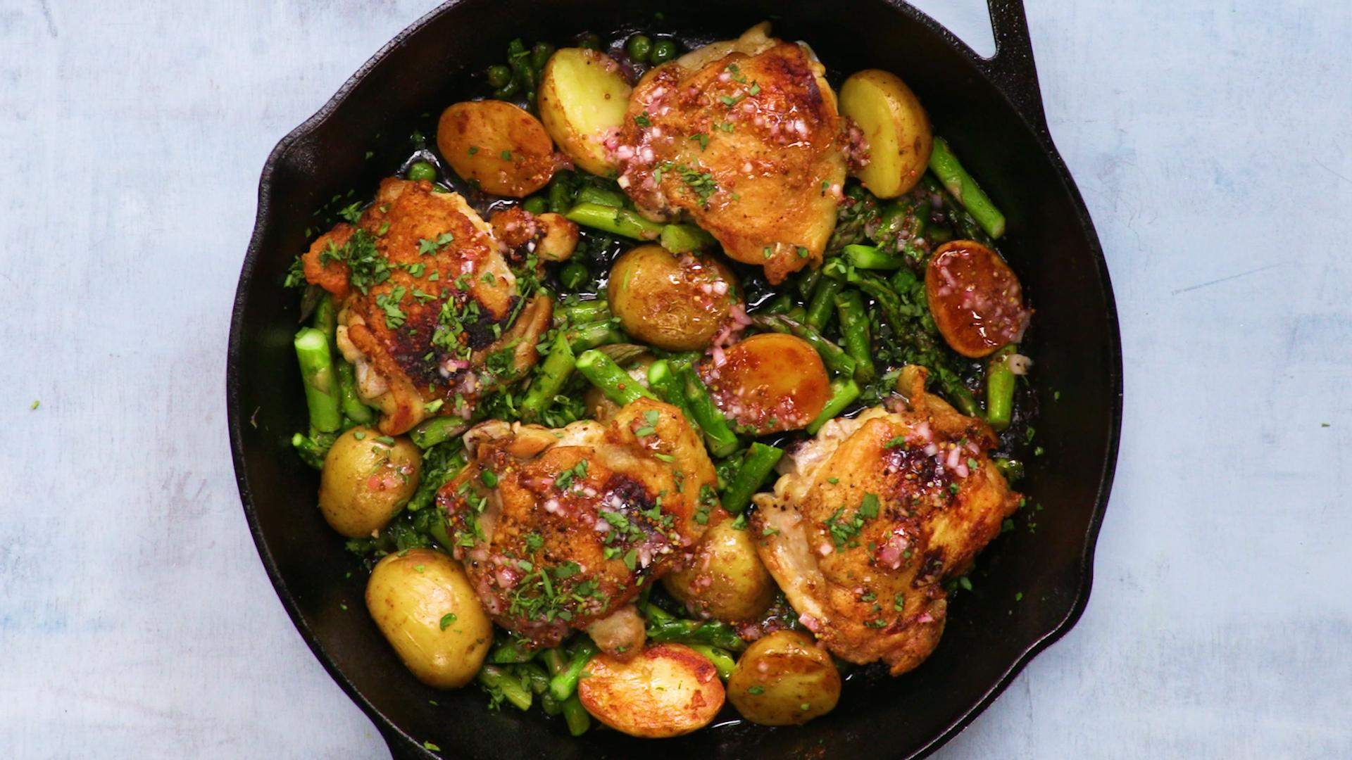 Skillet Chicken Thighs with Spring Vegetables and Shallot Vinaigrette