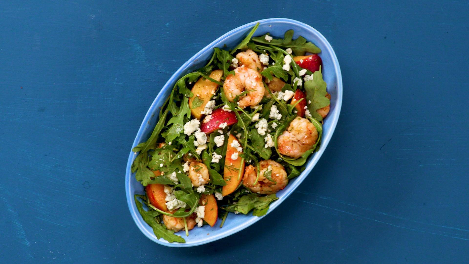 Shrimp and Marinated Peach Salad