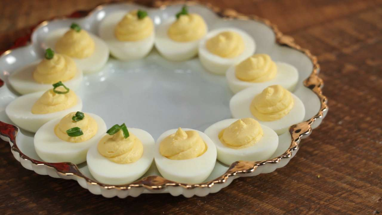 Hot chicken deviled eggs recipe myrecipes - Better homes and gardens deviled eggs ...