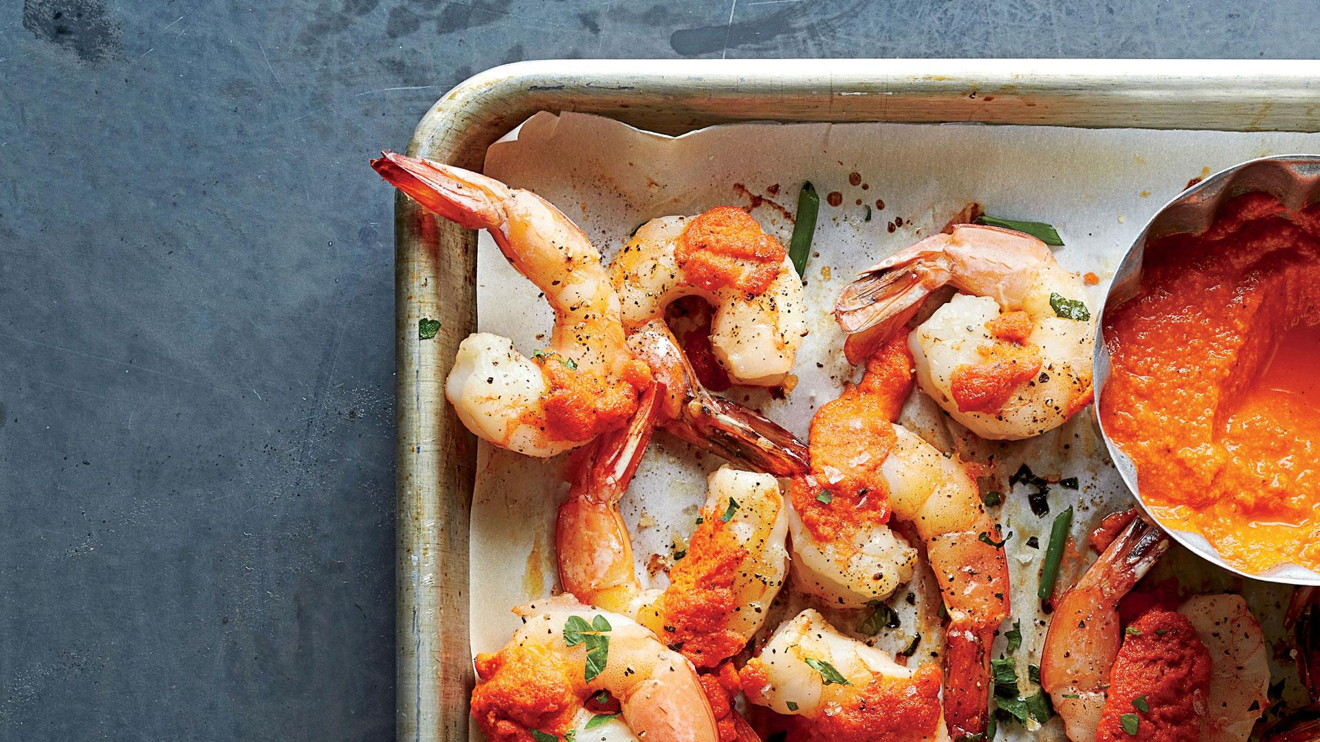 Roasted Gulf Shrimp with Romesco Sauce Recipe