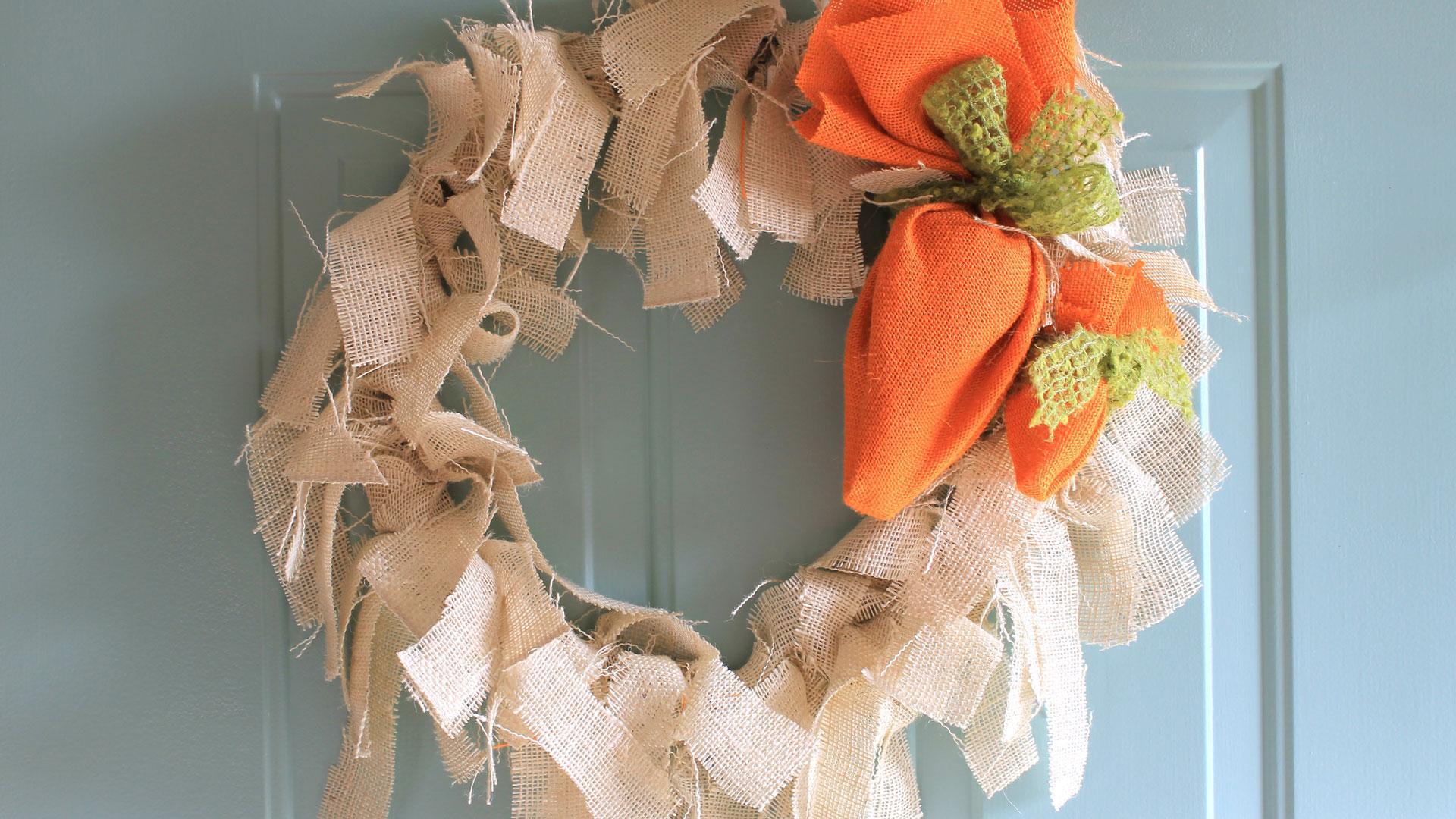 Make A Burlap Carrot Easter Wreath To Brighten Your Front Door