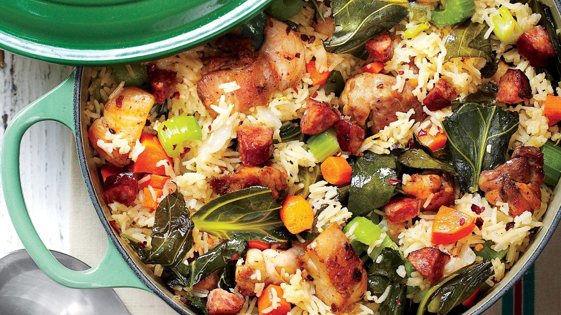 Try This One-Dish Chicken-and-Collards Pilau For Dinner