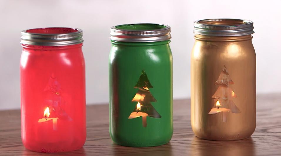 DIY Christmas Tree Mason Jars