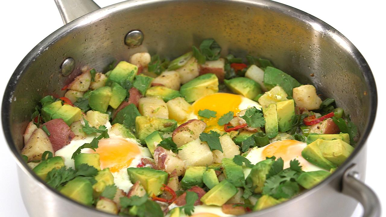 Potato, Egg, and Avocado Hash